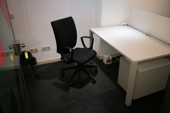 Individual office. With lock, in basement. For 3 fixed people